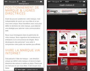 2 sites consultés depuis un mobile celui de gauche est adapté à une lecture et navigation sur mobile. Celui de droite n'est adapté