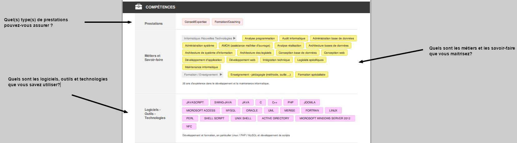 """bien remplir la section """"compétences"""" permet de mieux configurer les alertes d'offres de mission que vous recevrez"""